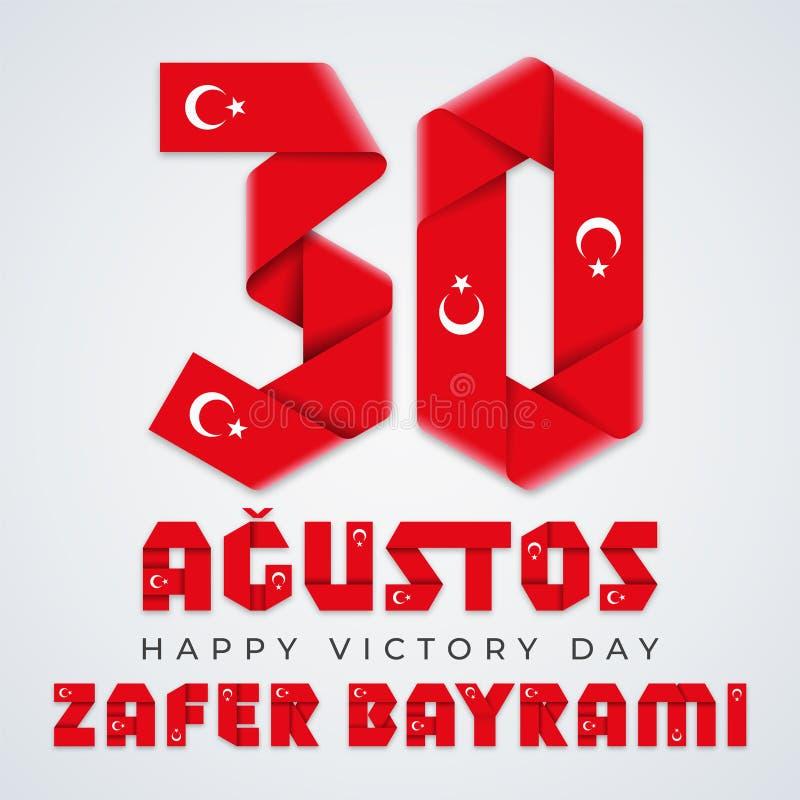 30 de agosto, diseño congratulatorio de Turquía Victory Day con los elementos turcos de la bandera Ilustraci?n del vector ilustración del vector
