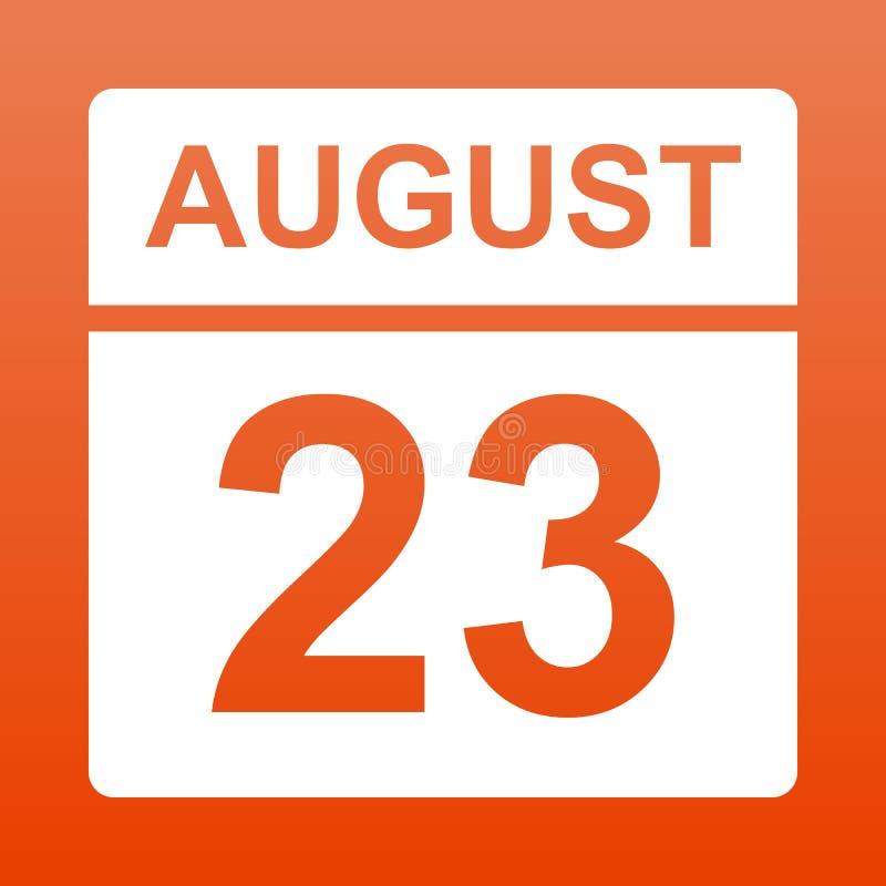 23 de agosto E Dia no calend?rio Vigésimo terceiro do fundo vermelho august com inclinação ilustração do vetor