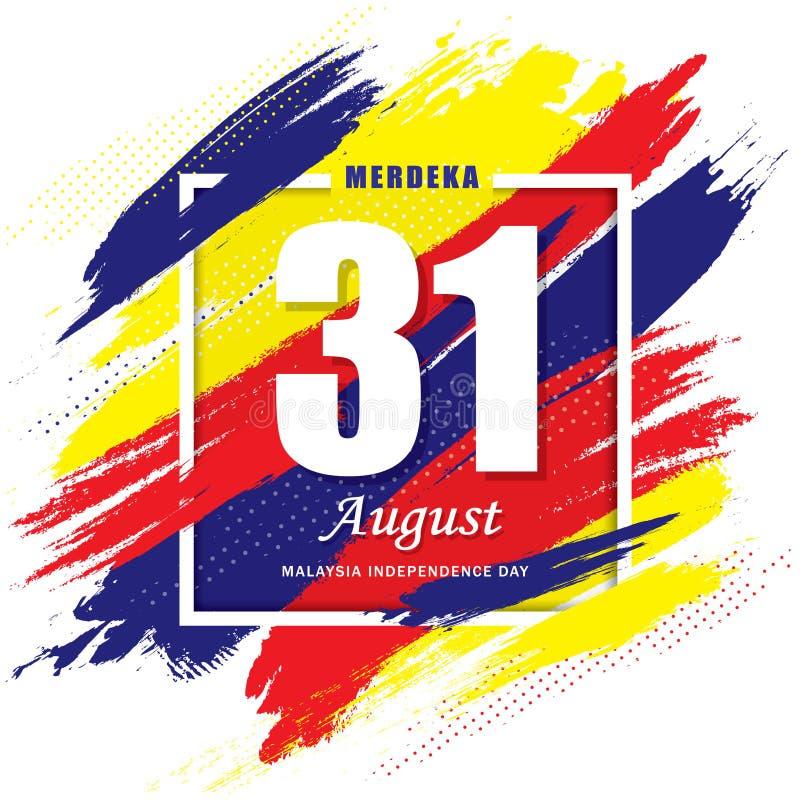 31 de agosto - molde do Dia da Independência de Malásia ilustração stock