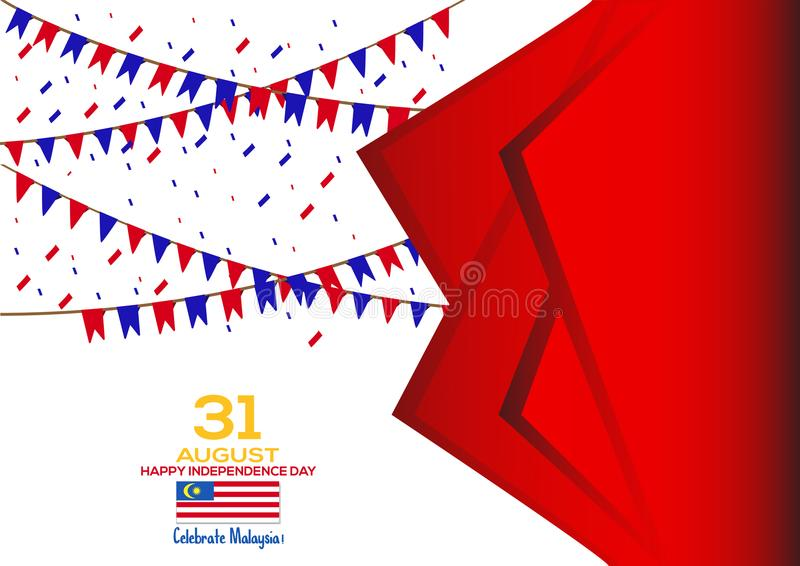 31 de agosto - Vector el diseño patriótico del Día de la Independencia de Malasia del ejemplo Tarjeta de felicitación feliz del v libre illustration