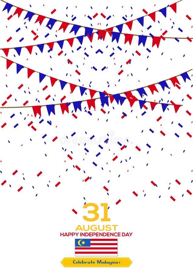 31 de agosto - Vector el diseño patriótico del Día de la Independencia de Malasia del ejemplo Tarjeta de felicitación feliz del v ilustración del vector