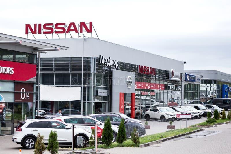 07 de agosto de 2017 - Vinnitsa, Ucr?nia Sala de exposi??es de Nissan imagem de stock royalty free