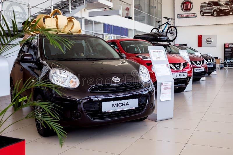 07 de agosto de 2017 - Vinnitsa, Ucr?nia Sala de exposi??es de Nissan fotografia de stock royalty free