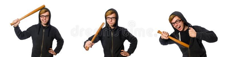 De agressieve die man met honkbalknuppel op wit wordt geïsoleerd stock afbeelding
