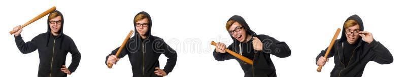 De agressieve die man met honkbalknuppel op wit wordt geïsoleerd royalty-vrije stock afbeelding