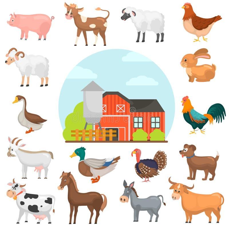 De Agricultutedieren kleuren vlakke geplaatste pictogrammen De illustratie van de landbouwbedrijfkleur stock illustratie