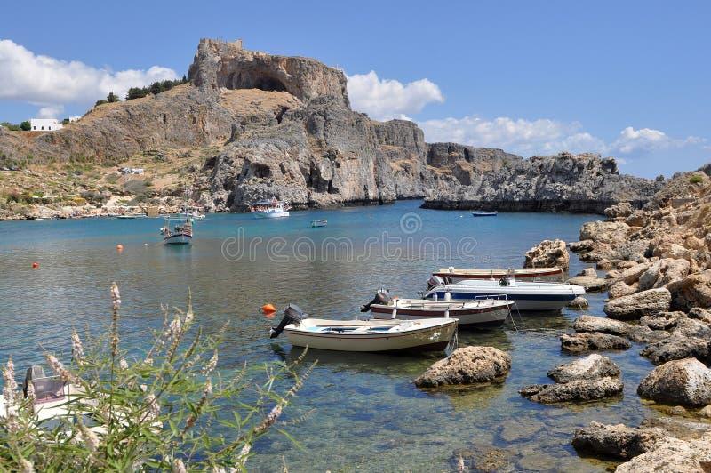 De Akropolis van Lindos stock foto's