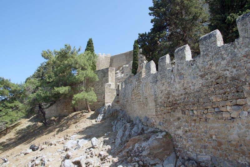 De Akropolis van Lindos stock afbeelding