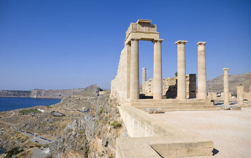 De akropolis van Lindos stock foto