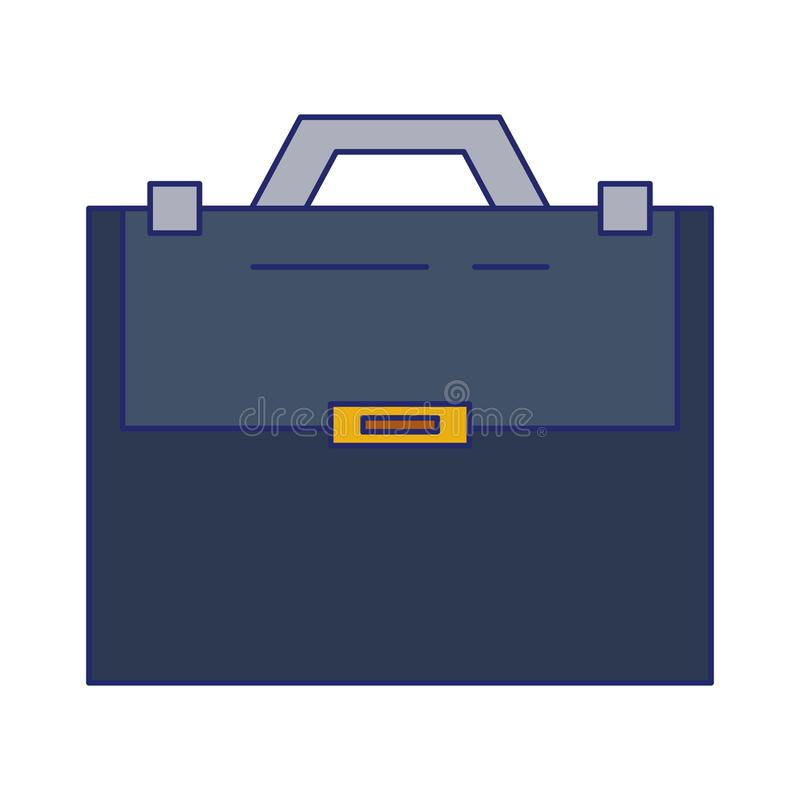 De aktentas met handvat wordt verzegeld isoleerde blauwe lijnen die royalty-vrije illustratie