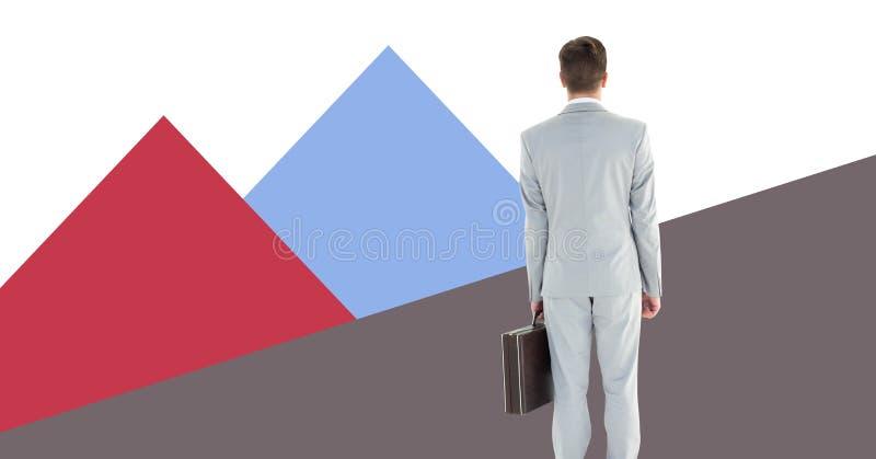 De aktentas van de zakenmanholding met minimale vormen stock afbeelding