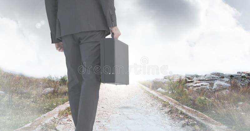 De aktentas van de zakenmanholding op weg royalty-vrije stock fotografie