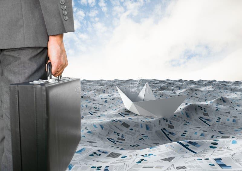 De aktentas van de zakenmanholding in overzees van documenten met document boot stock foto's
