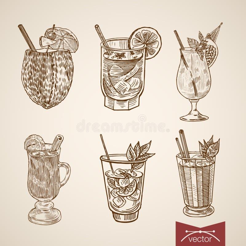 De alcoholglazen van de cocktail het exotische drank retro graveren stock illustratie