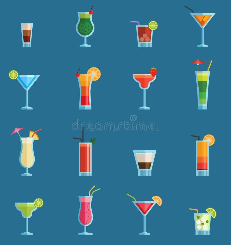 De alcoholische cocktails drinkt vectorfruit koude kosmopolitisch, B-52, mohito, de alcoholinzameling van de wodkaversheid en par royalty-vrije illustratie