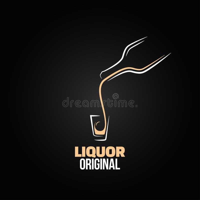 De alcoholische drank geschotene achtergrond van het het ontwerpmenu van de glasfles vector illustratie