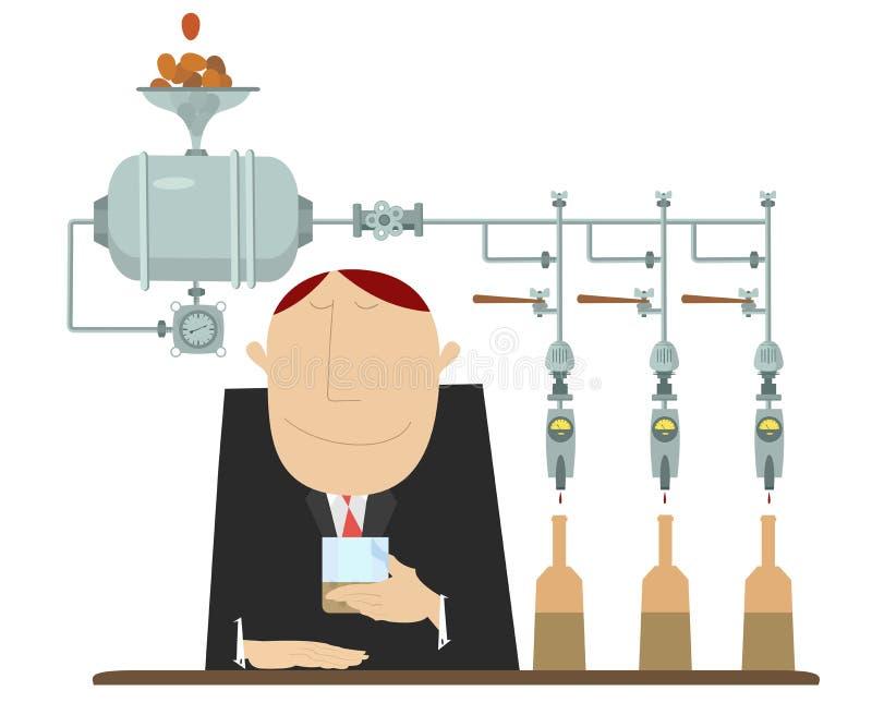 De alcoholische drankindustrie en van de bemonsteringsmens illustratie royalty-vrije illustratie