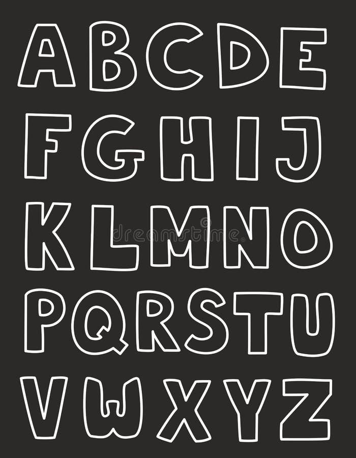 De alfabetbrieven overhandigen getrokken vector geïsoleerde reeks vector illustratie