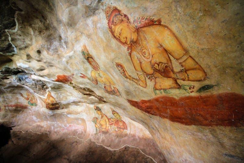 De alfresco målningarna Sigiriya Sri Lanka arkivfoton