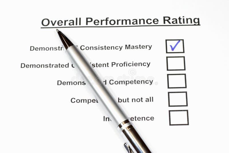 De algemene Classificatie van Prestaties stock afbeelding