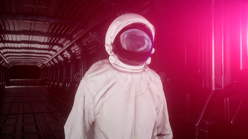 De alleen astronaut bekijkt de aarde in futuristisch binnenland, denkt de aarde in een spacesuithelm na 3d Cinematic stock illustratie
