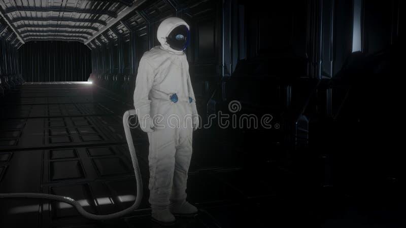 De alleen astronaut bekijkt de aarde in futuristisch binnenland, denkt de aarde in een spacesuithelm na 3d Cinematic vector illustratie