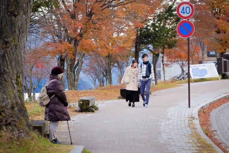 De alleen oude vrouw wacht langs de straat van Nikko, Japan stock fotografie