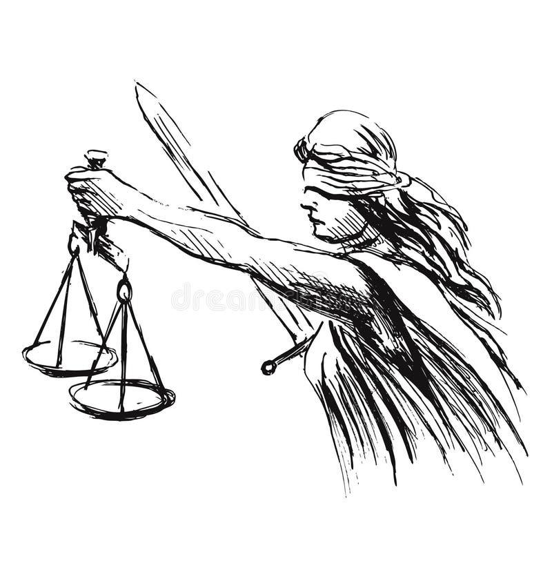 De allegorie van de handschets van rechtvaardigheid vector illustratie