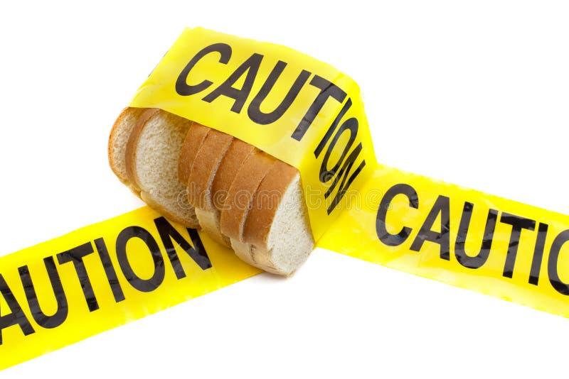 De allergiewaarschuwing van de voorzichtigheid, van het gluten en van de tarwe stock afbeeldingen