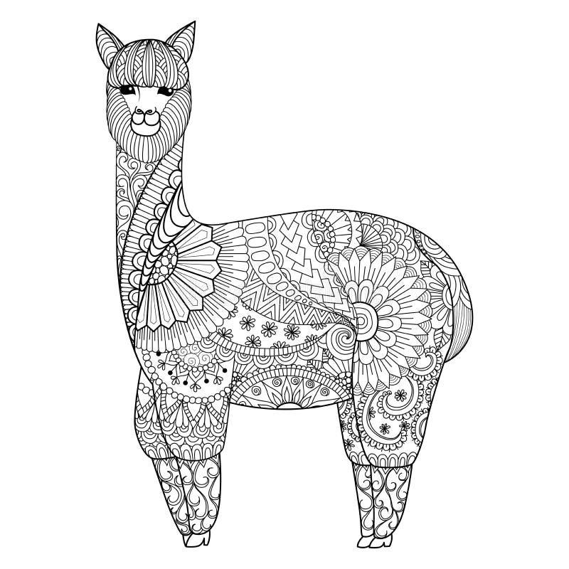 De alpaca zentangle ontwerpt voor etc. het kleuren van boek voor volwassene, embleem, t-shirtontwerp royalty-vrije illustratie