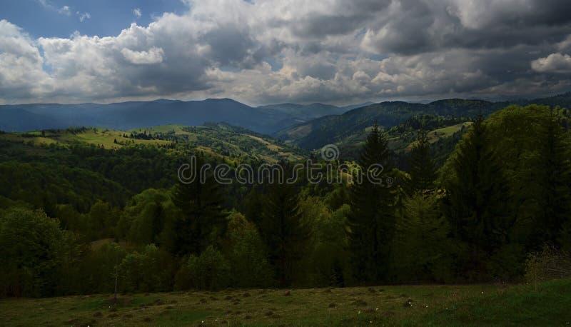 De alpiene randen van de Karpatische Bergen worden omringd door eeuw-oude bossen op de achtergrond van de blauwe hemel met wit royalty-vrije stock fotografie