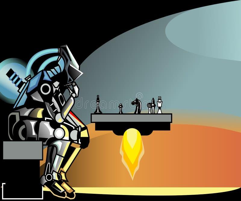 De alta tecnología El robot juega a ajedrez libre illustration