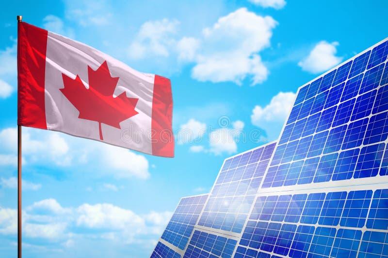 De alternatieve energie van Canada, zonne-energieconcept met vlag industriële illustratie - 3D symbool van strijd met het globale royalty-vrije illustratie