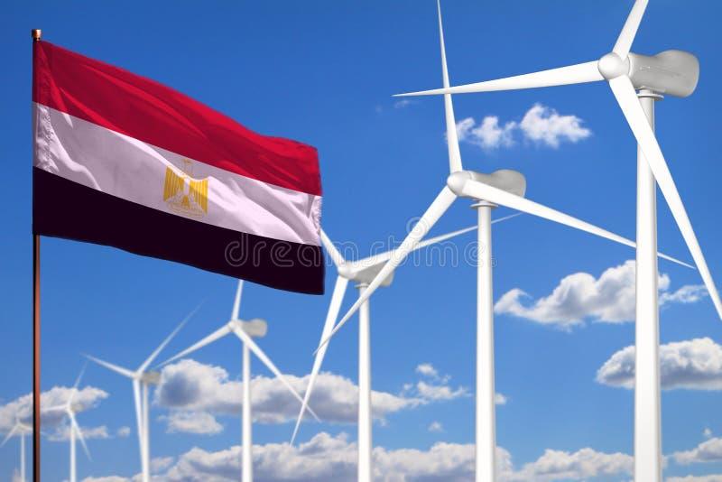 De alternatieve energie van Egypte, het industriële concept van de windenergie met windmolens en vlag industriële illustratie - v royalty-vrije stock fotografie