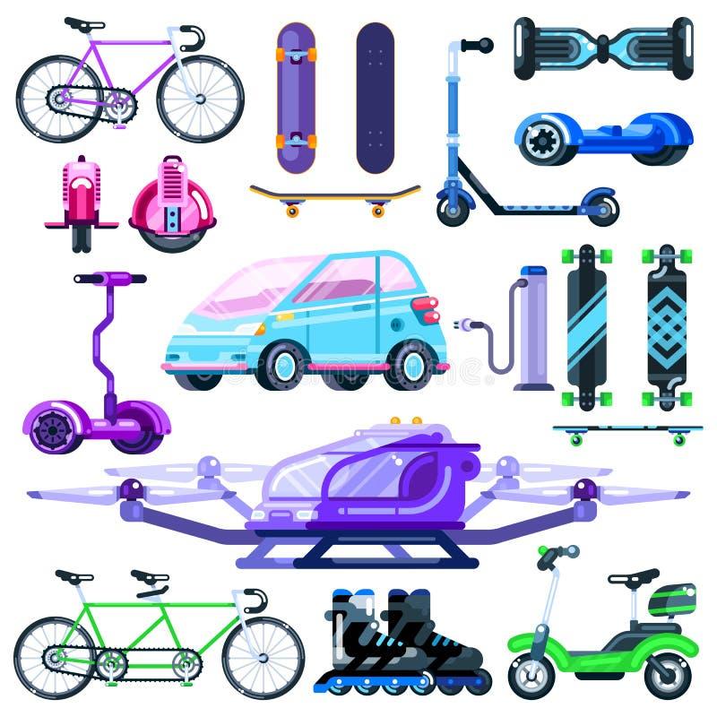 De alternatieve reeks van het eco elektrische vervoer Vector vlakke voertuigillustratie Moderne die apparaten op witte achtergron stock illustratie