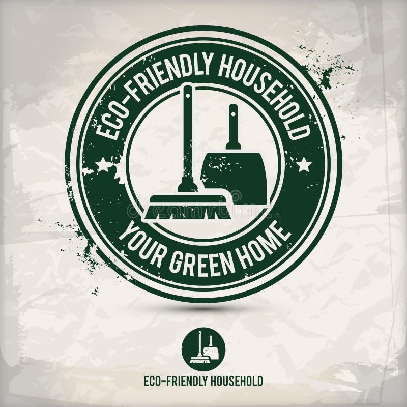 De alternatieve zegel van het eco vriendschappelijke huishouden royalty-vrije illustratie