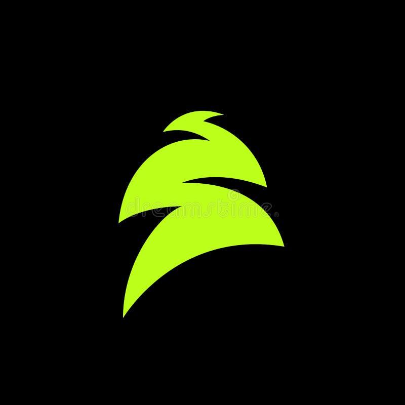 De altijdgroene naald groene boom van kleurennaalden, ceder, pijnboombrunches Abstract vectorembleemelement Natuurlijke bladeren  vector illustratie