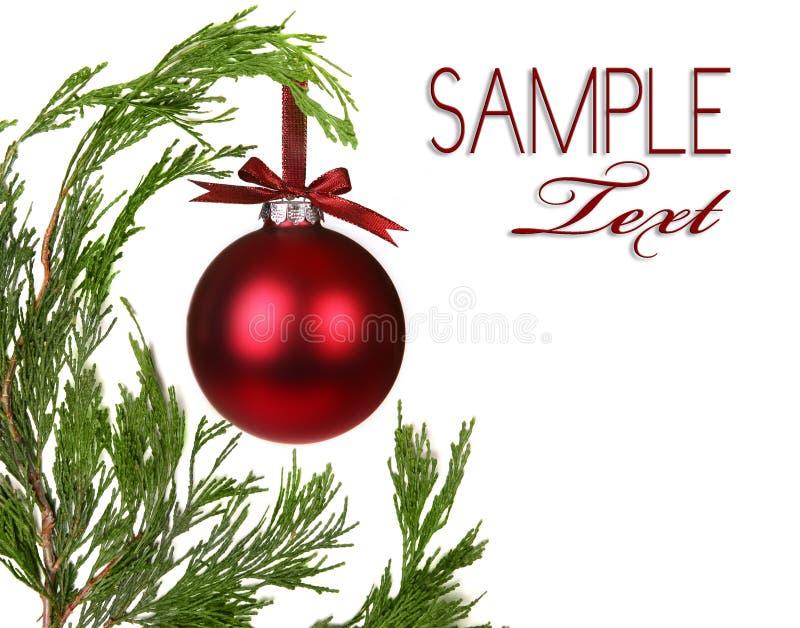 De altijdgroene Takken van de Kerstboom met Één Ornamen royalty-vrije stock fotografie