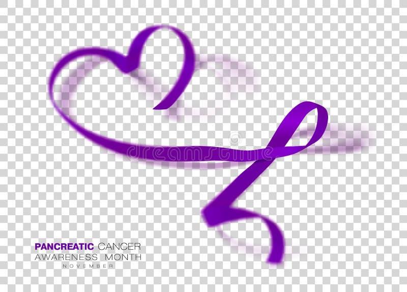 De alvleesklier- Maand van de Kankervoorlichting Purper Kleurenlint dat op Transparante Achtergrond wordt geïsoleerd Vectorontwer royalty-vrije illustratie