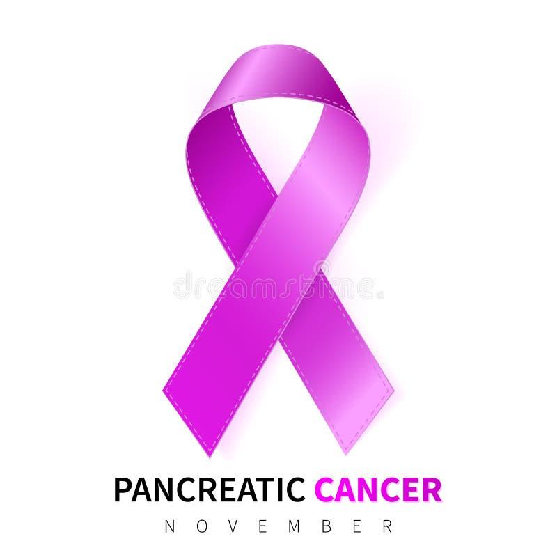 De alvleesklier- Maand van de Kankervoorlichting Realistisch Purper lintsymbool Medisch ontwerp Vector illustratie stock illustratie