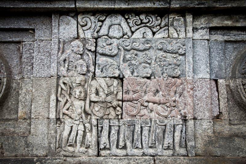 De ambacht van de steen in de tempel van Candi Penataran in Blitar, Idonesia. stock foto's