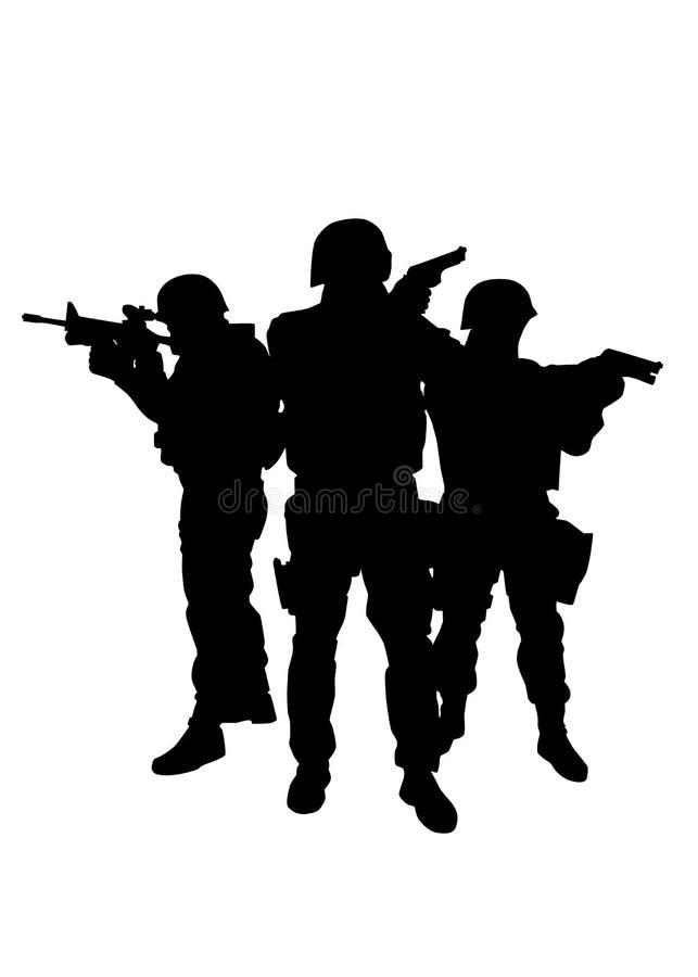 De ambtenaren vector zwart silhouet van politie speciaal krachten stock illustratie