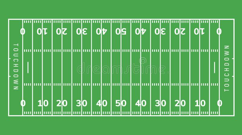 De Amerikaanse Achtergrond van het Gebied van de Voetbal De illustratie van het het grasgebied van het rugbystadion vector illustratie
