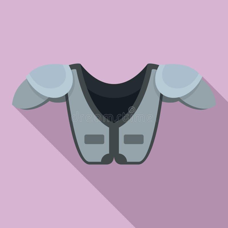 De Amerikaanse borst van de voetbalschouder beschermt pictogram, vlakke stijl stock illustratie
