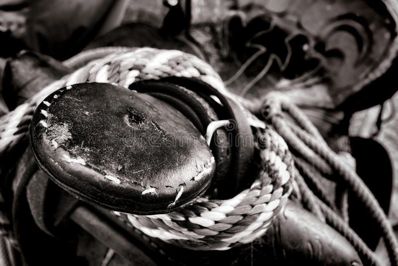 De Amerikaanse Cowboy Old Saddle Horn van de het Westenrodeo stock afbeelding