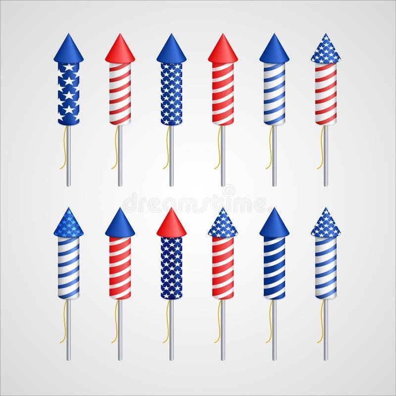 De Amerikaanse Dag van de Onafhankelijkheid Vakantieraket vector illustratie