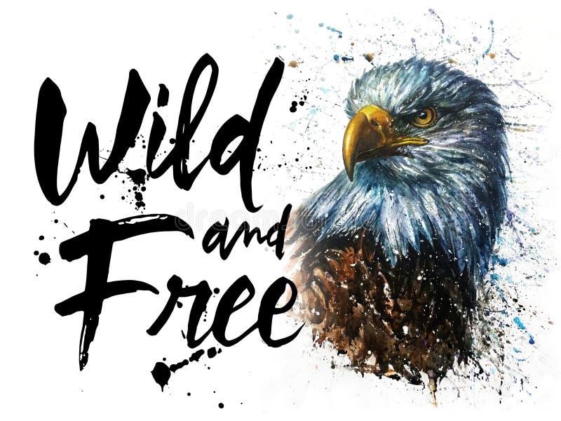 De Amerikaanse Eagle-druk van het waterverf wilde en vrije wild voor t-shirt stock illustratie
