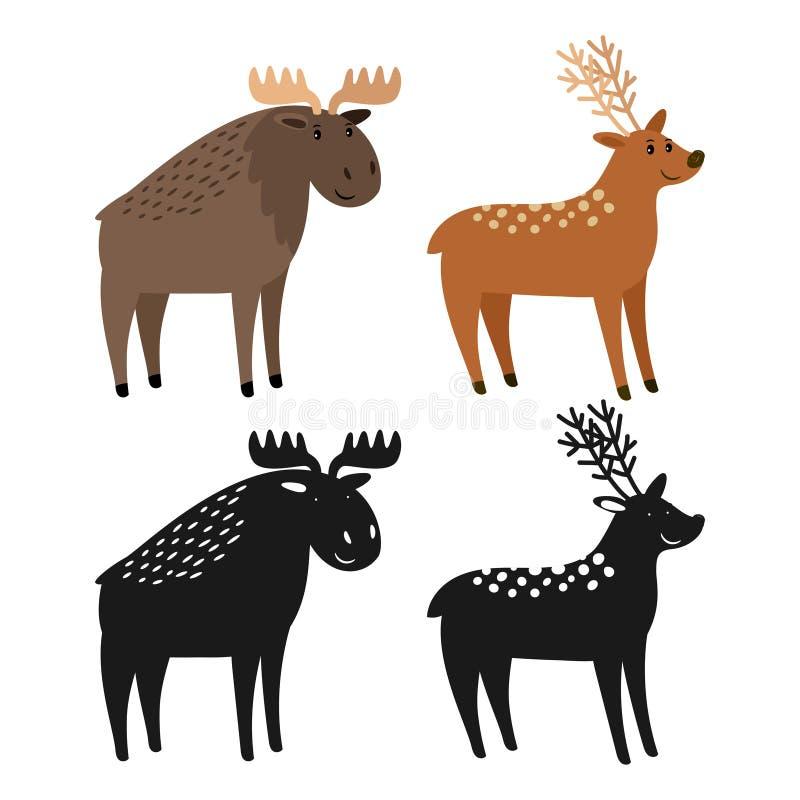 De Amerikaanse elanden van het beeldverhaalkarakter en herten en dierlijke silhouetten vectorillustratie royalty-vrije illustratie