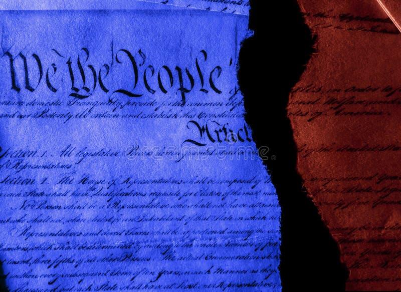 De Amerikaanse grondwet heeft de politiek in tweeën gegrepen stock foto's