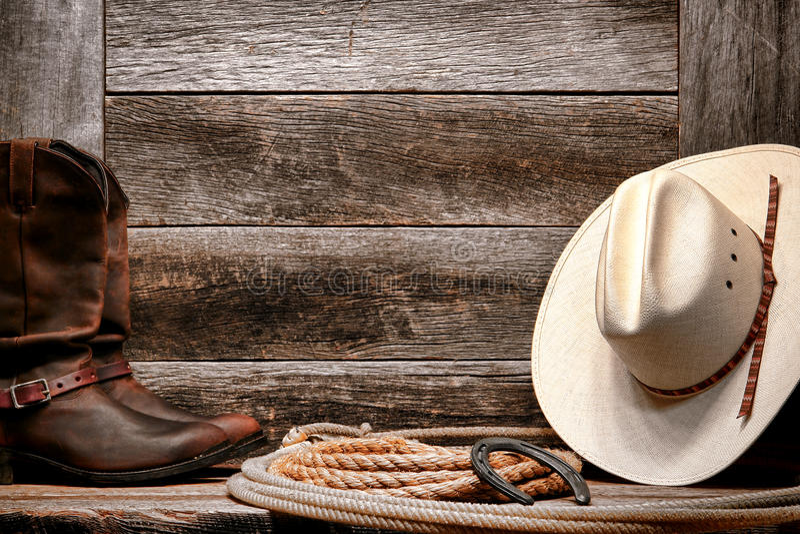 De Amerikaanse Hoed van de Cowboy van de Rodeo van het Westen op Lasso met Laarzen royalty-vrije stock foto